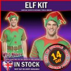 CHRISTMAS FANCY DRESS COSTUME # Christmas Elf Instant Kit, with Printed T-Shirt and Hat